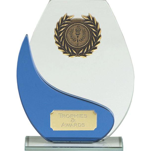 "Blue & Clear Glass Laurel Wreath Plaque Award 16.5cm (6.5"")"