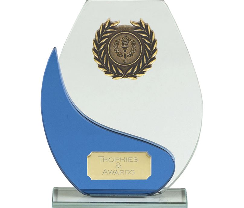 "Blue & Clear Glass Laurel Wreath Plaque Award 14.5cm (5.75"")"