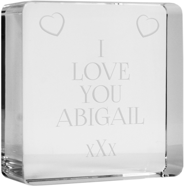"I Love You Glass Token Paperweight 6cm (2.25"")"