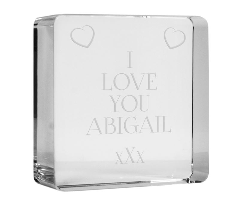 """I Love You Optical Crystal Token Paperweight 6cm (2.25"""")"""