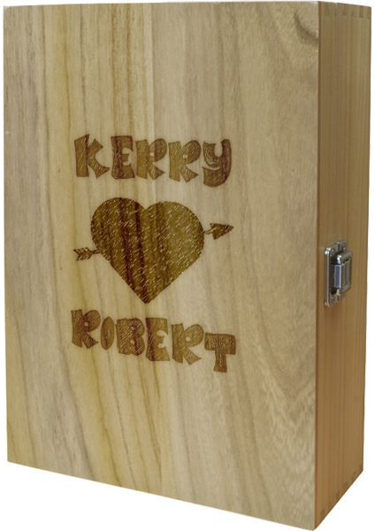 "Arrow Through Heart Double Wine Box 35cm (13.75"")"