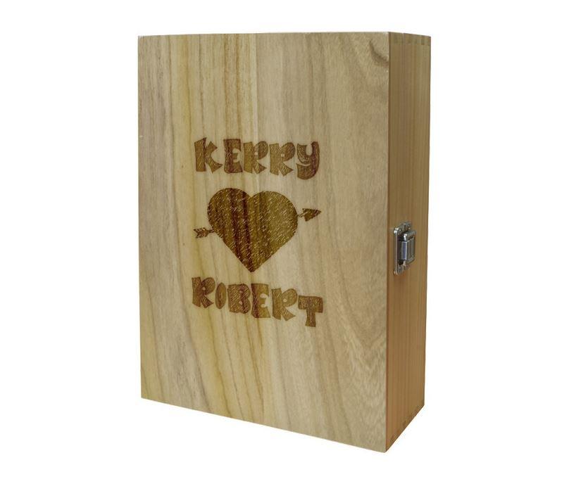 """Arrow Through Heart Double Wine Box 35cm (13.75"""")"""