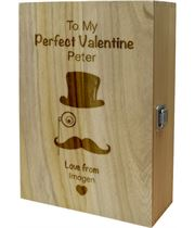 "My Perfect Valentine Top Hat Double Wine Box 35cm (13.75"")"