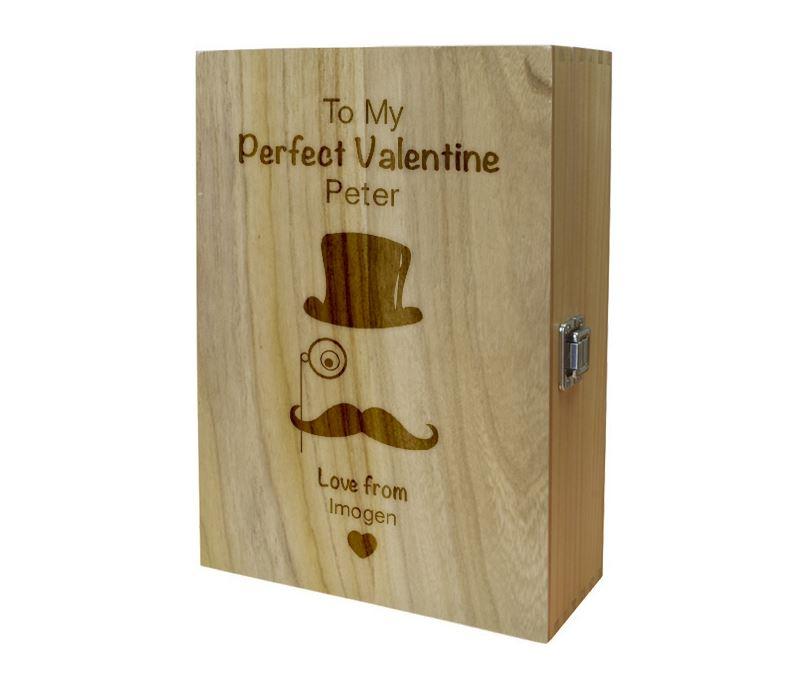 "My Perfect Valentine Top Hat Double Wine Box 35cm (13.75"")"