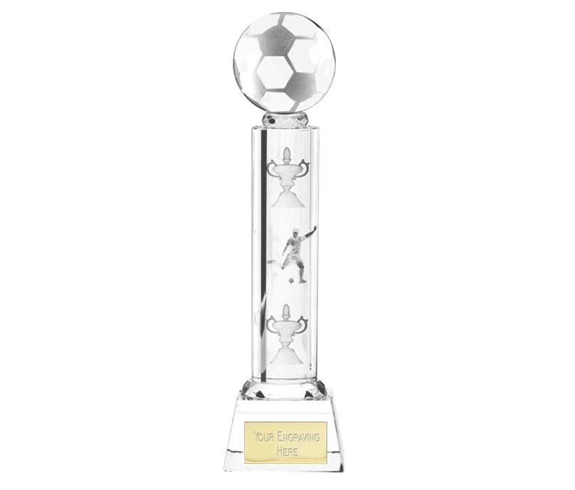 "Football Glass Detail Column Award 26cm (10.25"")"
