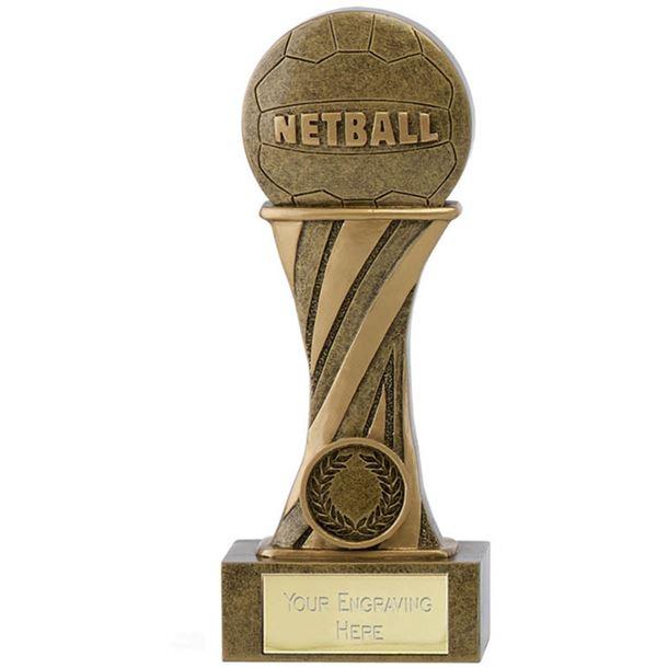"Showcase Antique Gold Resin Netball Award 18cm (7"")"