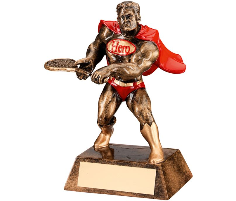"Antique Gold Resin Tennis Hero Trophy 15cm (6"")"