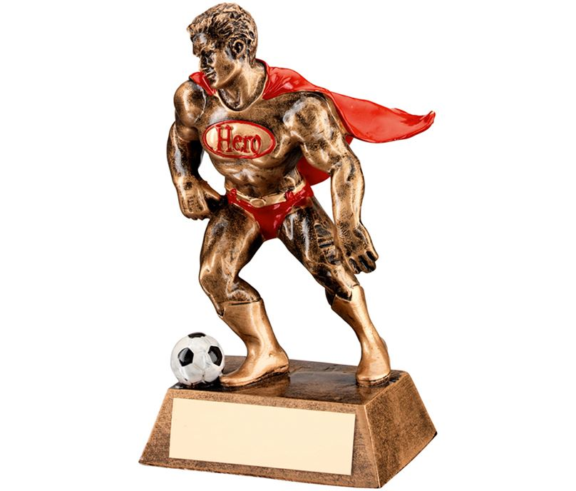 "Antique Gold Resin Football Hero Trophy 16cm (6.25"")"