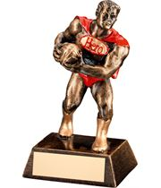 "Antique Gold Resin Rugby Hero Trophy 16cm (6.25"")"