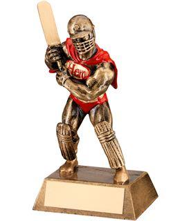 "Antique Gold Resin Cricket Hero Trophy 16.5cm (6.5"")"