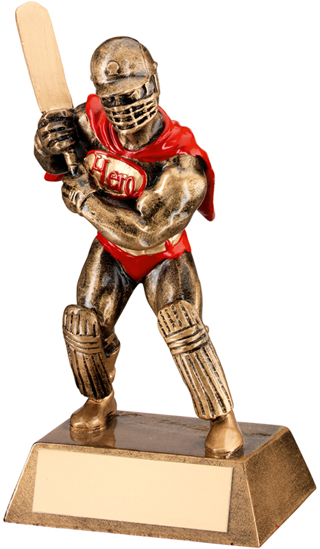 "Antique Gold Resin Cricket Hero Trophy 16.5cm (6.5"")"