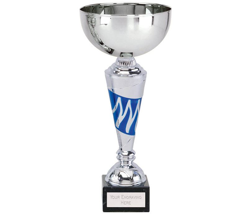 "Silver & Blue Presentation Cup With Wave Detail Stem 27.5cm (10.75"")"