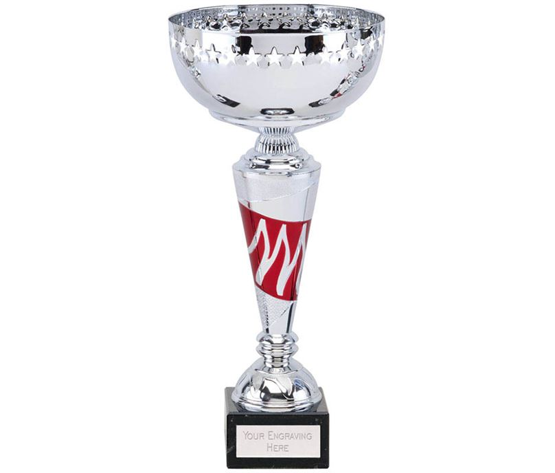 """Silver & Red Star Presetation Cup With Wave Detail Stem 31cm (12.25"""")"""
