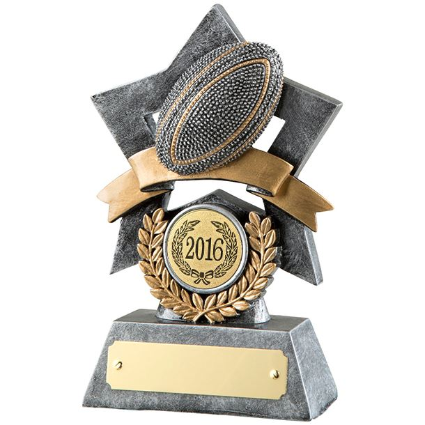 """Antique Silver Resin Star Rugby Ball Trophy 14cm (5.5"""")"""
