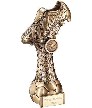 "Antique Gold Football Boot On Ball on Net Stem Trophy 23cm (9"")"