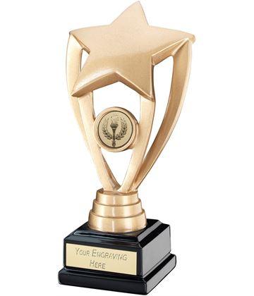 """Gold Shooting Star Holder on Black Base Trophy 17cm (6.75"""")"""