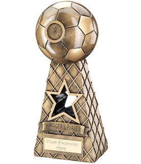 """Managers Player Antique Gold Football Net Pyramid Trophy 26cm (10.25"""")"""