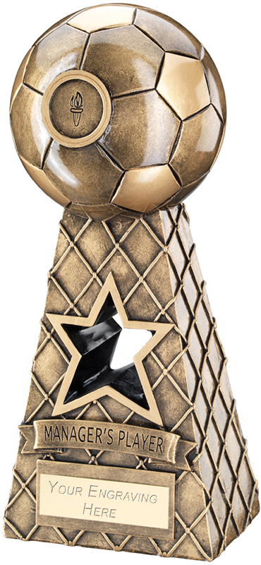 "Managers Player Antique Gold Football Net Pyramid Trophy 26cm (10.25"")"