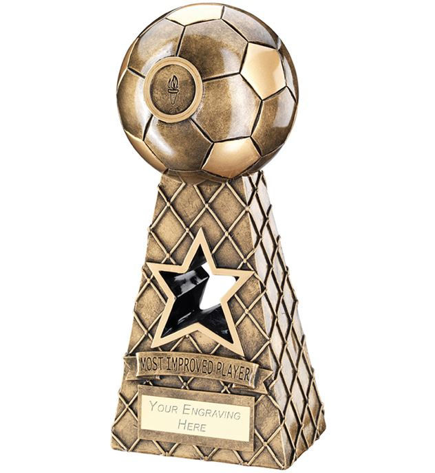 "Most Improved Antique Gold Football Net Pyramid Trophy 26cm (10.25"")"