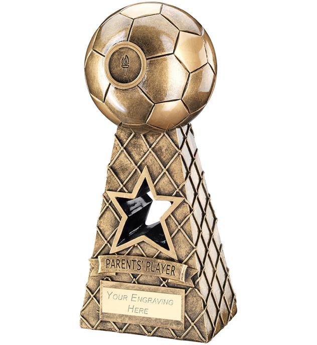 "Parents Player Antique Gold Football Net Pyramid Trophy 26cm (10.25"")"