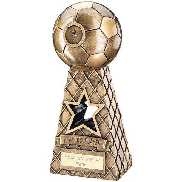 """Players Player Antique Gold Football Net Pyramid Trophy 26cm (10.25"""")"""