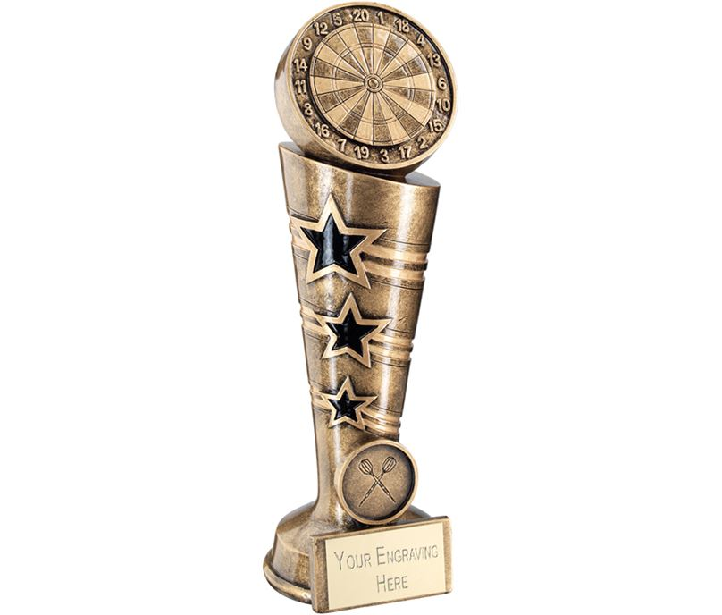 "Antique Gold 3 Star Darts Column Trophy 26cm (10.25"")"