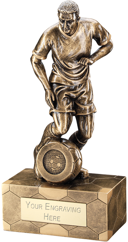 "Antique Gold Male Football Figure Trophy 22cm (8.75"")"