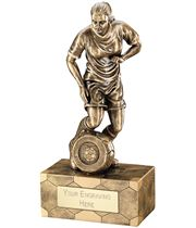"Antique Gold Female Football Figure Trophy 25.5cm (10"")"