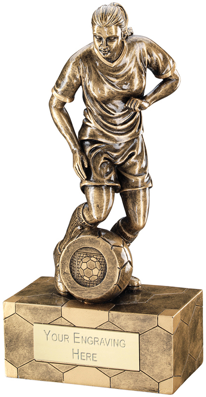 "Antique Gold Female Football Figure Trophy 25.5cm (10"")"