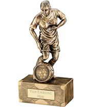 "Antique Gold Female Football Figure Trophy 14.5cm (5.75"")"