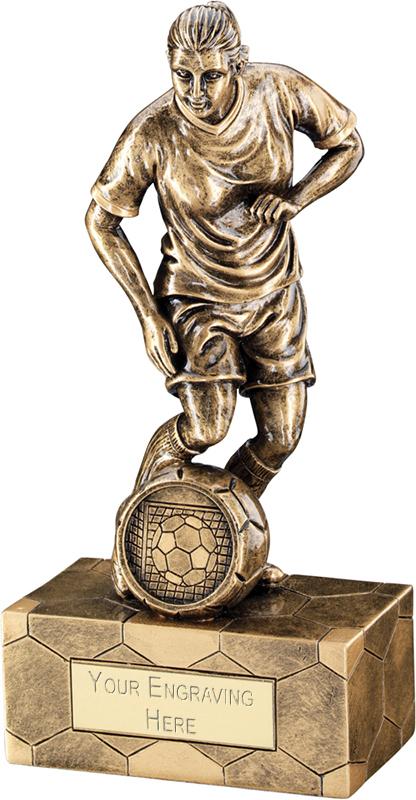 "Antique Gold Female Football Figure Trophy 18.5cm (7.25"")"
