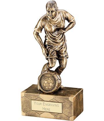 "Antique Gold Female Football Figure Trophy 14.5cm (5.75"")"