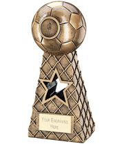 "Antique Gold Football Net Pyramid Trophy 15cm (6"")"