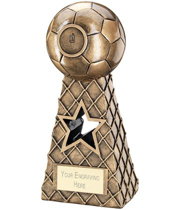 "Antique Gold Football Net Pyramid Trophy 26cm (10.25"")"