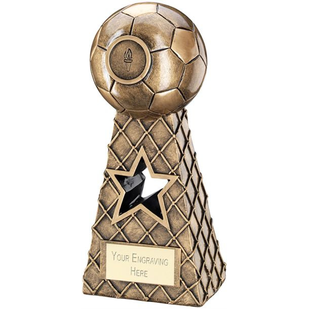 "Antique Gold Football Net Pyramid Trophy 20.5cm (8"")"