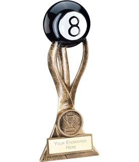 """Antique Gold Pool Ball on 3 Pronged Riser Trophy 16.5cm (6.5"""")"""