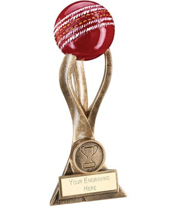 "Antique Gold Cricket Ball on 3 Pronged Riser Trophy 21.5cm (8.5"")"
