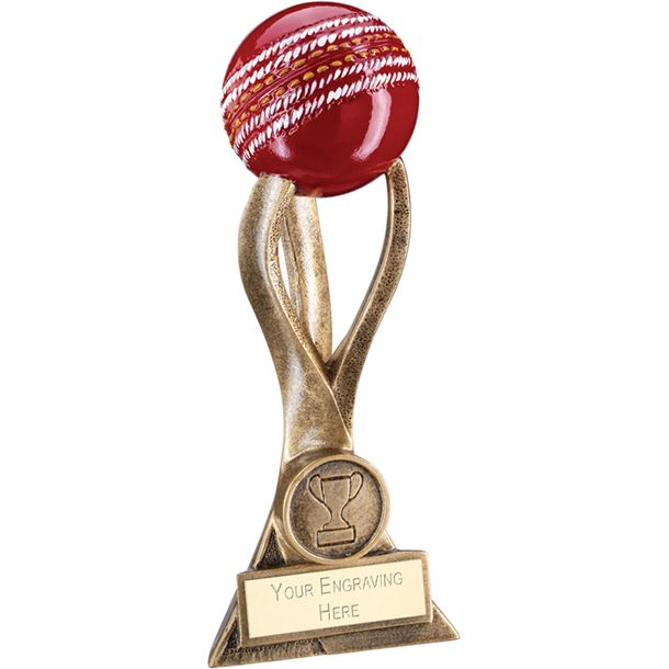 """Antique Gold Cricket Ball on 3 Pronged Riser Trophy 21.5cm (8.5"""")"""