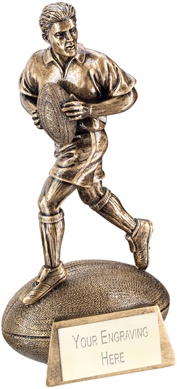 "Antique Gold Rugby Figure on Ball Base Trophy 15cm (6"")"