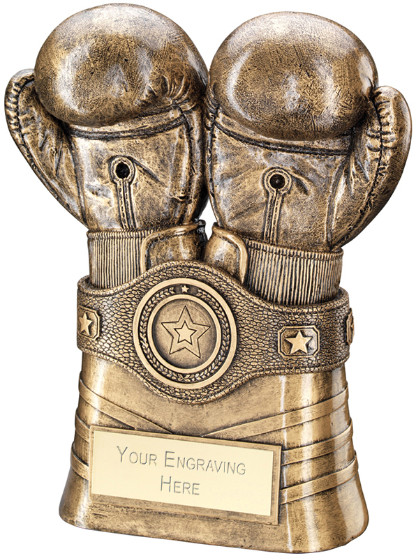 """Antique Gold Boxing Gloves and Belt Trophy 20.5cm (8"""")"""