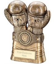 "Antique Gold Boxing Gloves and Belt Trophy 20.5cm (8"")"