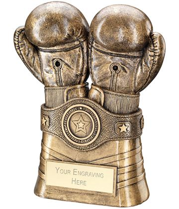 "Antique Gold Boxing Gloves and Belt Trophy 16.5cm (6.5"")"