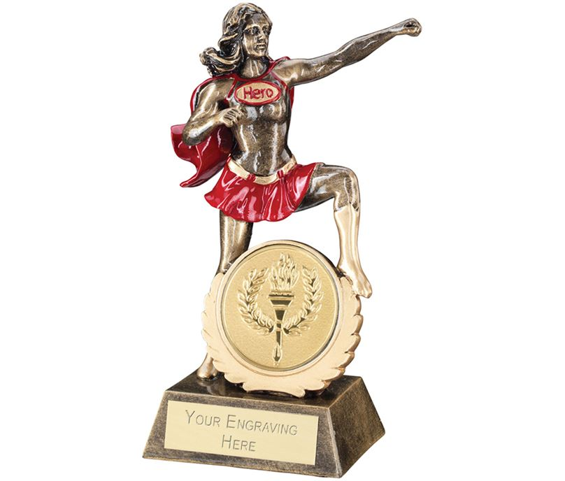 "Antique Gold Resin Multi Award Female Hero Trophy 19cm (7.5"")"