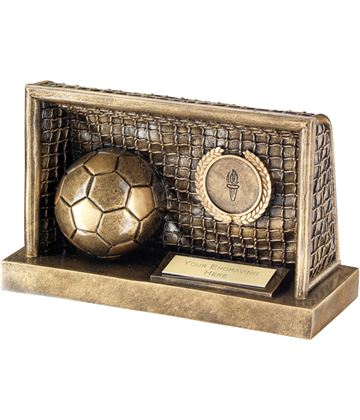 "Antique Gold Football in Goals Trophy 15cm (6"")"