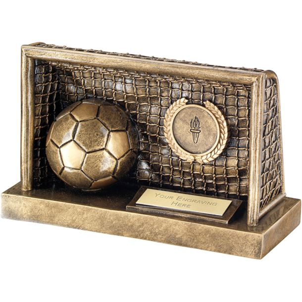 "Antique Gold Football in Goals Trophy 19cm (7.5"")"