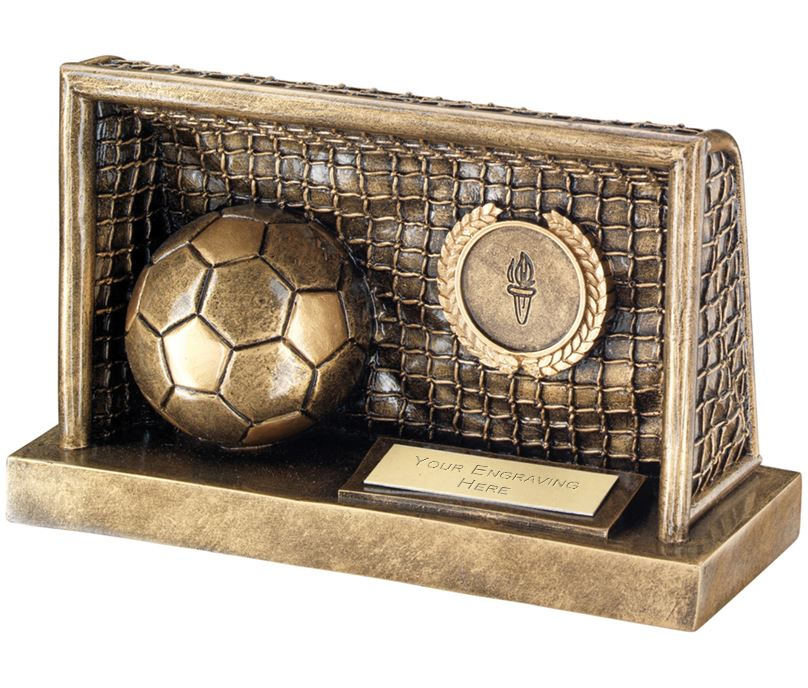 "Antique Gold Football in Goals Trophy 12.5cm (5"")"