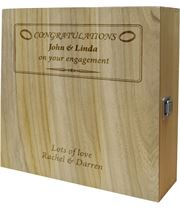 "Engagement Congratulations Triple Wine Box - Ring Design 35cm (13.75"")"
