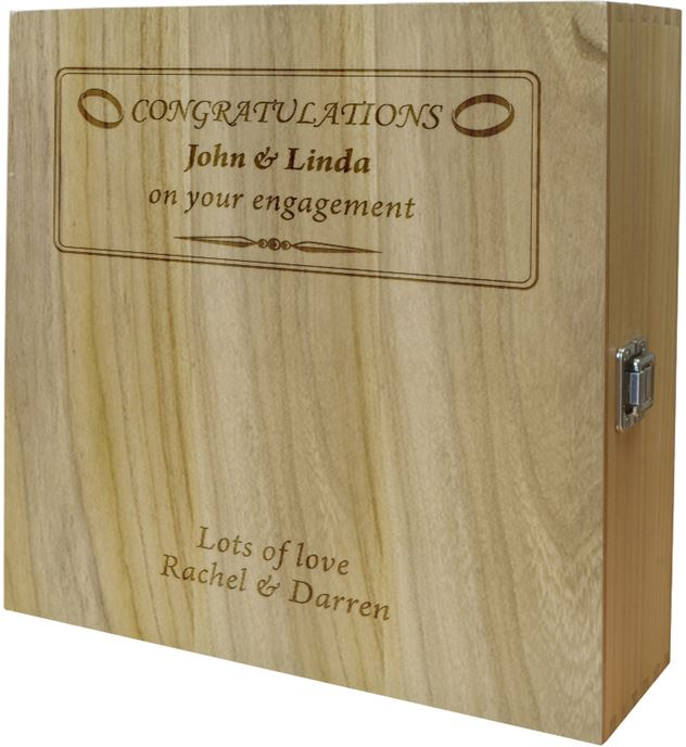 "Engagement Congratulations Triple Wine Box - Ring Design 35cm (13.75"")"