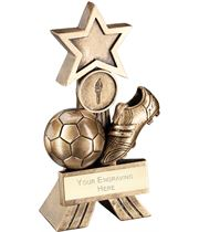 "Antique Gold Football Shooting Star Trophy 18cm (7"")"