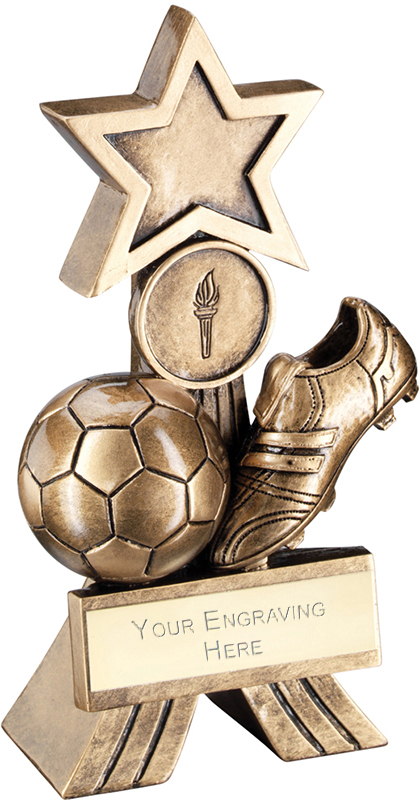 "Antique Gold Football Shooting Star Trophy 15cm (6"")"